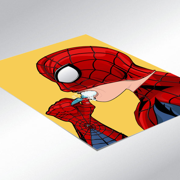 Spiderman brushing his teeth bathroom poster wyatt9.com