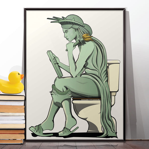 statue of liberty bathroom toilet poster