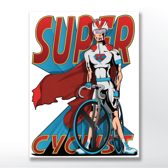 superhero cyclist cycling poster, wall art print from wyatt9.com