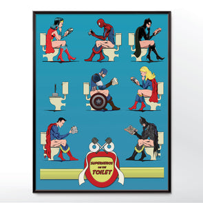 Superheroes On Toilet Poster Comic Book Wall Art Print