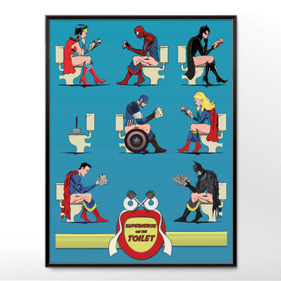 Superheroes on the Toilet Bathroom Posters - wyatt9.com