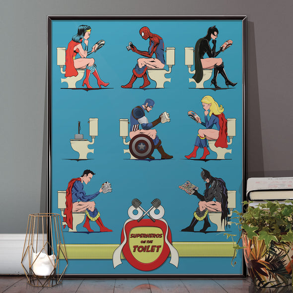 Superheroes on the Toilet Bathroom Posters wall art print from  wyatt9.com