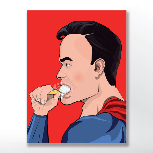 superman brushing his teeth bathroom poster wall art print from wyatt9.com