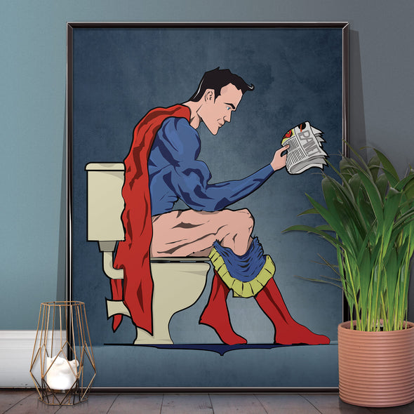 Superman Toilet Bathroom Poster