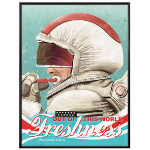 Astronaut Brushing Teeth Bathroom Poster