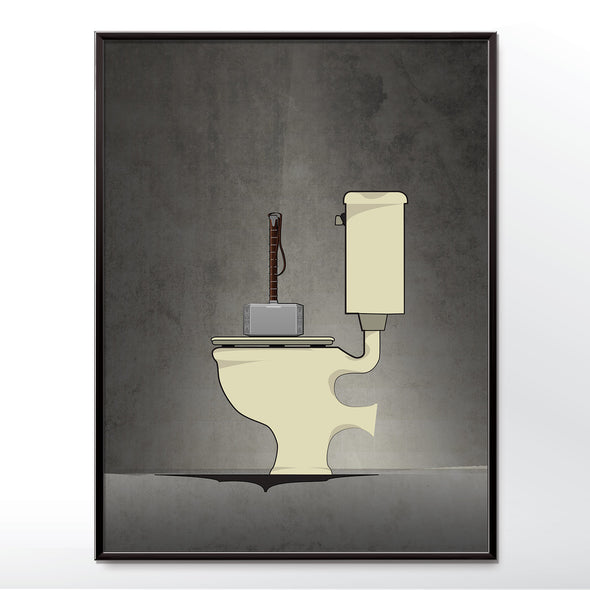 Thor hammer toilet poster wall art print from wyatt9.com