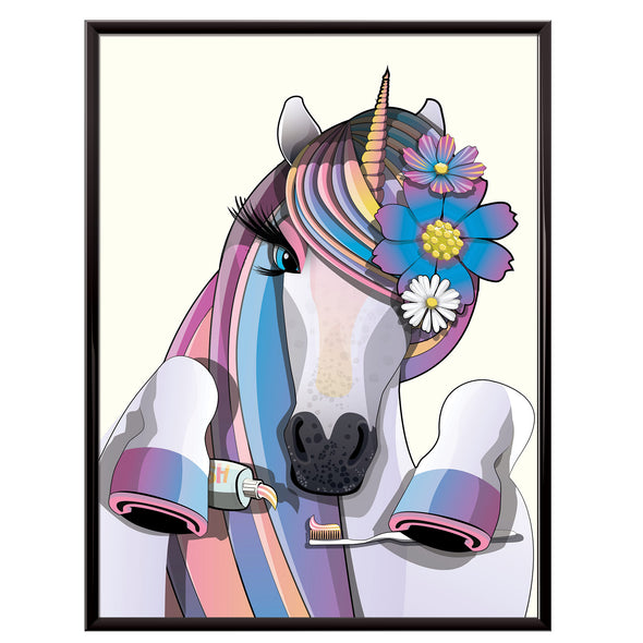 Unicorn brushing teeth bathroom poster