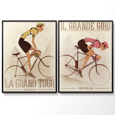 Vintage Style Cyclists Poster Print Set