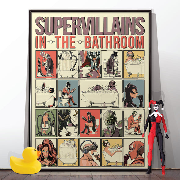 Supervillains in the bathroom poster