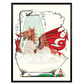 Welsh Dragon in the shower poster. Bathroom wall art, Home Décor