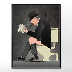 Winston Churchill on the toilet Bathroom poster - wyatt9.com