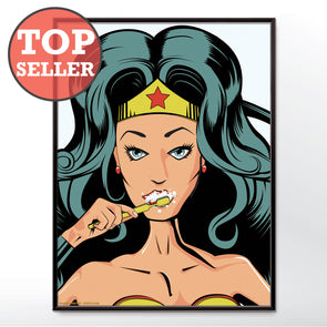 Wonder Woman Cleaning Teeth Bathroom Poster