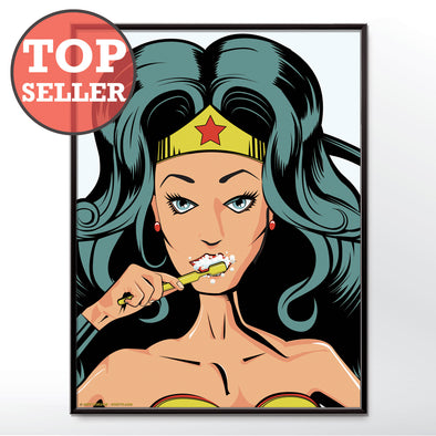 Wonder Woman brushing teeth poster wall art print from wyatt9.com