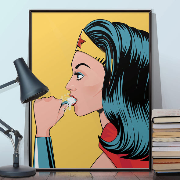 Wonder Woman brushing his teeth bathroom poster wyatt9.com
