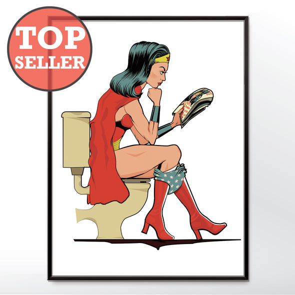 Wonder Woman on the toilet poster wall art print from wyatt9.com