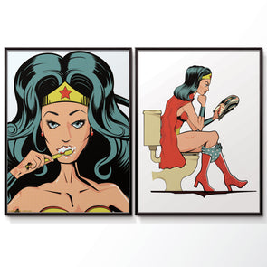 Wonder Woman Bathroom Poster Set