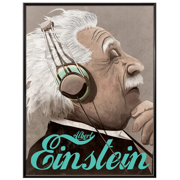 Albert Einstein lost in music Poster