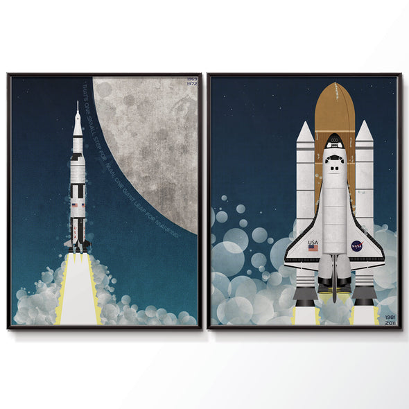 Nasa apollo Program saturn rocket poster and nasa space shuttle poster set