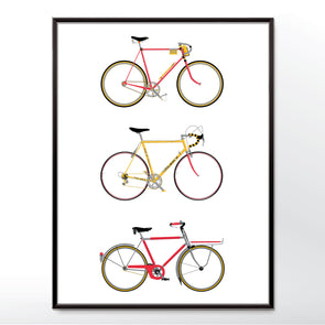 Vintage Bicycles Poster. Framed in three sizes 30x40cm, 18x24 inches, or 24x36 inches - wyatt9.com