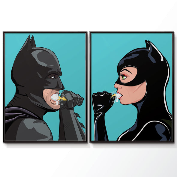 batman and Catwoman brushing their teeth bathroom poster wyatt9.com