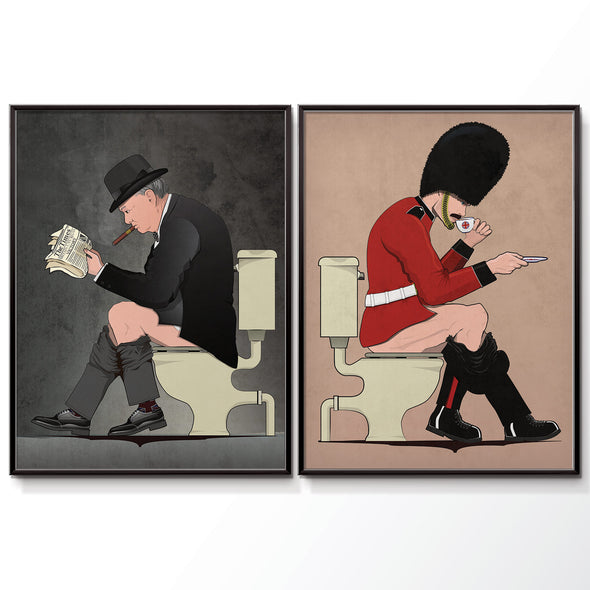 Churchill & Soldier Bathroom Poster Set