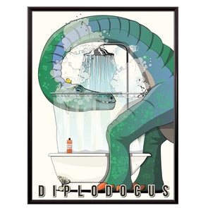 Diplodocus in the shower bathroom poster