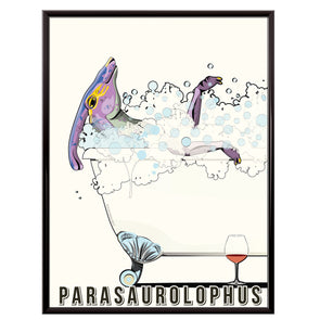 Parasaurolophus in the bath poster
