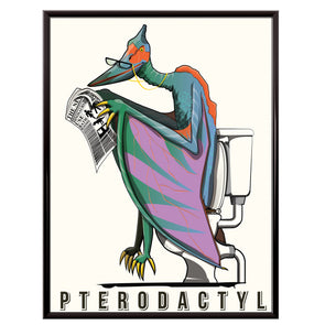 Pterodactyl on the toilet bathroom poster