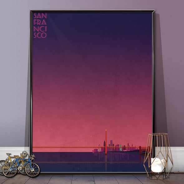 San Francisco wall art poster sun set from wyatt9.com