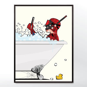 Spider-man in the bath, bathroom poster wyatt9.com