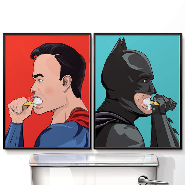 batman and Superman brushing his teeth bathroom poster wyatt9.com