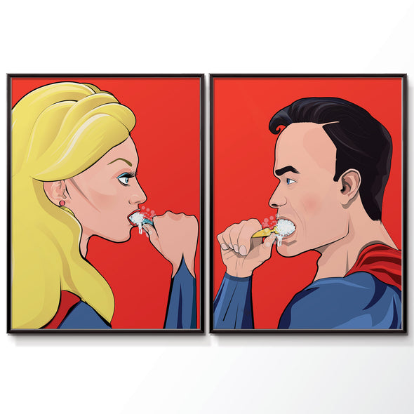 Superwoman and Superman brushing his teeth bathroom poster wyatt9.com