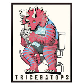 Triceratops on the toilet poster