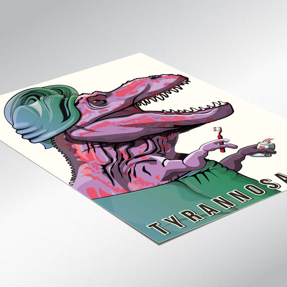 Tyrannosaurus brushing teeth poster