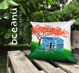 Square Throw Pillow - Bajo la Sombra del Flamboyán | Cojin Puerto Rico