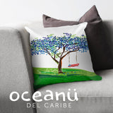 Square Throw Pillow - Flamboyan Azul Puerto Rico | Cojin