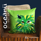 Square Throw Pillow - Gato Cat Gaze | Cojin Puerto Rico