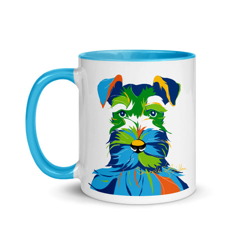 Colored Coffee Mug 11oz - Perro Dog Schnauzer Taza
