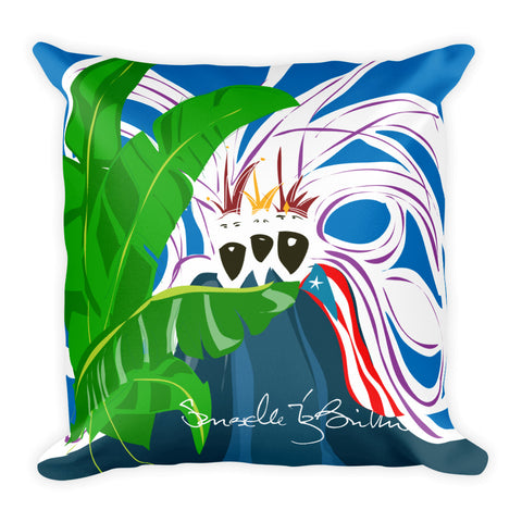 Square Throw Pillow - Los Reyes Magos Bandera Puerto Rico | Cojines