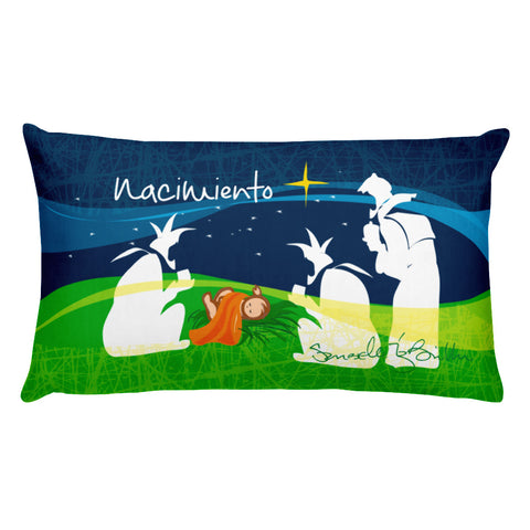 Rectangular Throw Pillow - Nacimiento Cojines Puerto Rico