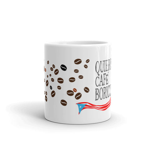 Coffee Mug 11oz Quiero Cafe Boricua Bandera Taza