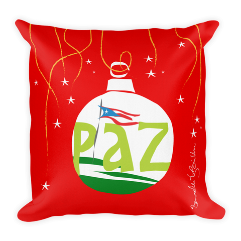 Square Throw Pillow - Paz Puerto Rico Cojines