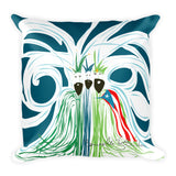 Square Throw Pillow - Reyes Magos Bandera Puerto Rico Blue Strokes | Cojines