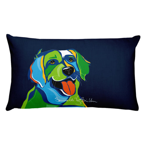 Rectangular Throw Pillow - Perro Dog Golden Retriever Cojines Puerto Rico