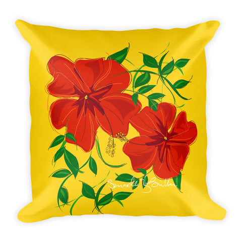 Square Throw Pillow - Amapola Roja Yellow | Cojines Puerto Rico