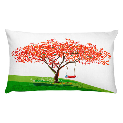 Rectangular Throw Pillow - Flamboyan Anaranjado Puerto Rico Cojines