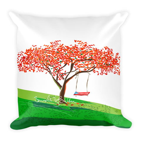 Square Throw Pillow - Flamboyan Anaranjado Puerto Rico | Cojines Puerto Rico