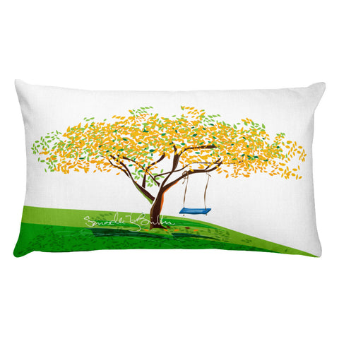 Rectangular Throw Pillow - Flamboyan Amarillo y Columpio Cojin Puerto Rico