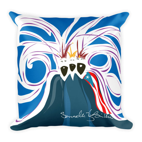 Square Throw Pillow - Reyes Magos Bandera Puerto Rico Blue | Cojines