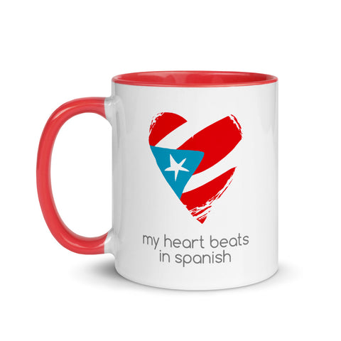Colored Coffee Mug 11oz - My Heart Beats in Spanish Taza
